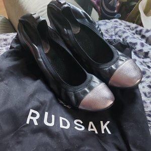 RUDSAK | Leather Ballerina Flats Black and Silver